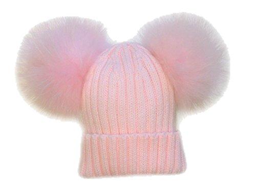 Brillabenny cappello cuffia doppio pon pon pelliccia rosa pink 1-3 anni bimba cappellino cuffia hat fur baby kids double poms topolino minnie