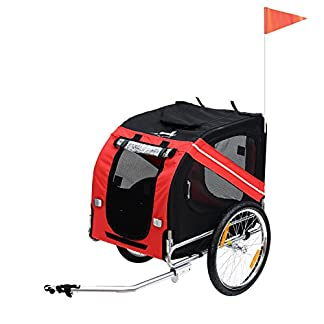 Pawhut Folding Dog Carrier Bicycle Pet Trailer in Steel Frame Jogger Stroller with Suspension – Red & Black 41oKHqggdKL