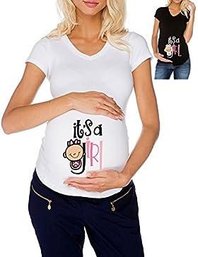 T-shirt PREMAMAN maglietta Lunga DONNA cotone BASIC super vestibilità top qualità - IT'S A GIRL karate bimbo gravidanza...