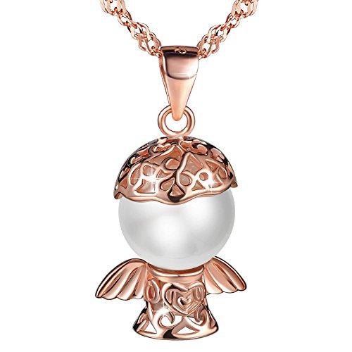 Collares Mujer, MicLee-Plata de Ley 925 con Perla, Colgantes ¨Amor del Ángela¨ Collar de Amor, el Mejor Regalo para Damas