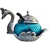 White Metal Duck Shape Single Bowl With Tray Set, WHITE METAL SILVER DUCK SHAPED GLASS BOWL-RED, KITCHEN STORAGE, MULTI PURPOSE, SUGAR BOWL, MASALA BOWL TRADITIONAL HANDICRAFT DECORATIVE GIFT ITEM PLATTER BURNI SHOWPIECE Decorative, Gift Item, Wedding,New