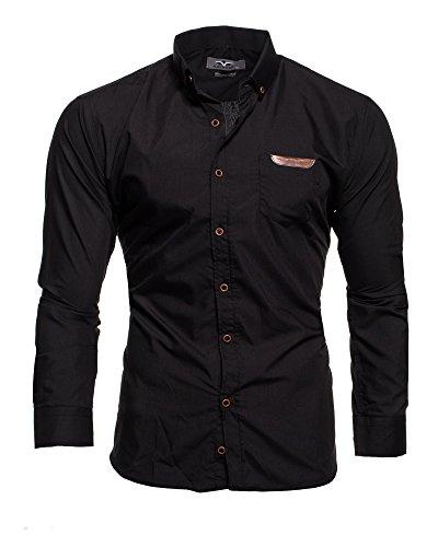 KAYHAN Herren Hemd Slim Fit Bügelleicht, Super Modern super Qualität Arizona Schwarz