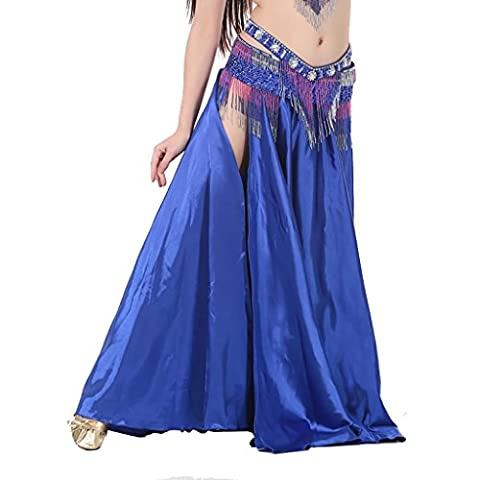 Wgwioo Dancewear Miss Belly Dance Skirt Tribal Bely Dance Costumes Deux Side Slit Maxi Jupe . 5# . F