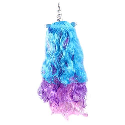 Peluca larga de unicornio rizado Frcolor para disfraz de peluca de cosplay para niños, niñas, adolescentes y adultos (solo peluca de cuerno de plata)