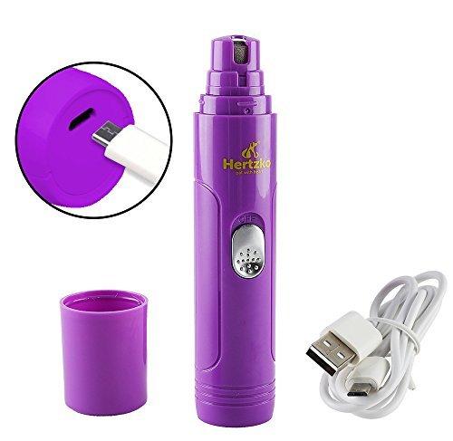 Hertzko - Lima eléctrica para mascotas - Cuida, corta, da forma y suaviza las uñas de perros, gatos, conejos y pájaros sin dolor - Portátil y recargable - Con cable USB