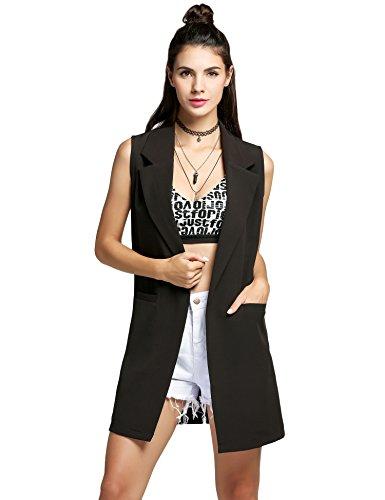 Ärmellose Weste Damen, Pagacat lang Casual Blazer Outwear Cardigan mit Taschen Reverskragen