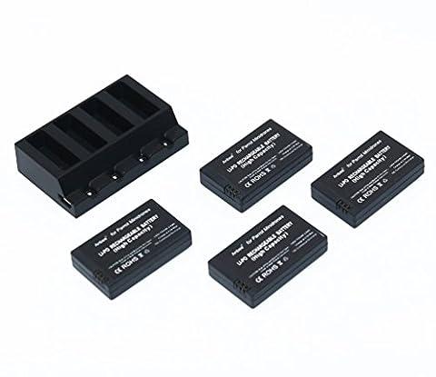 Anbee 3.7v 700mAh LiPo Batterie 4 pièces + Chargeur Parallèle