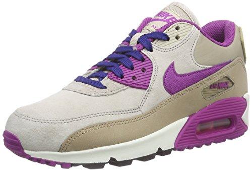 Nike WMNS AIR MAX 90 LTHR Damen Sneakers, Dsrt Cm/Prpl Dsk-Strng-Dp Ryl, 38.5 EU