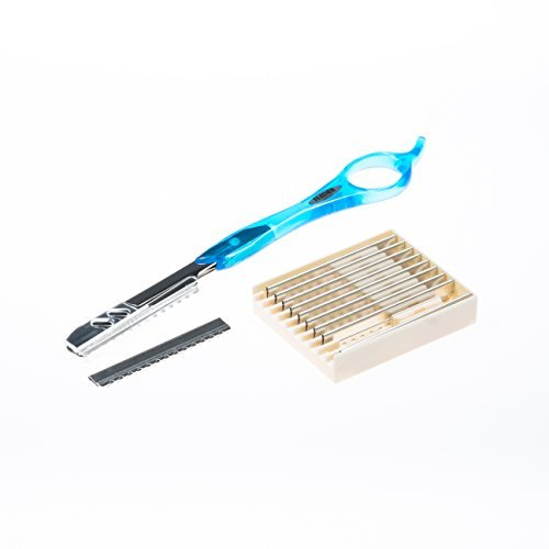 Feather Styling Razor Rasiermesser Orginal (Aqua Blue) 18,5cm Konturenmesser mit rostfreier Klinge...