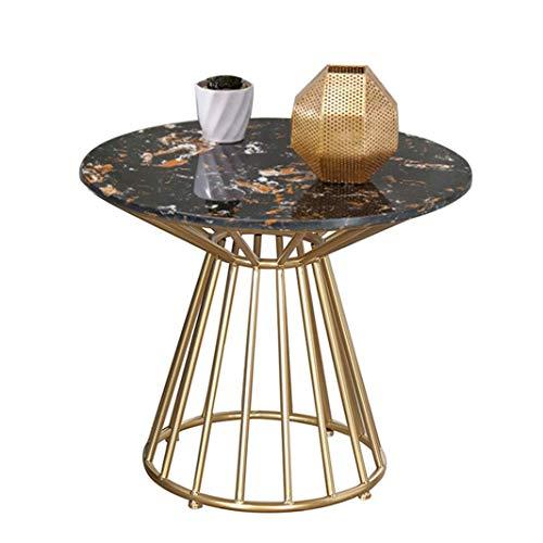 Ritlr- Moderner einfacher Kaffee- / Cocktail-Tisch/Beistelltisch, Marmortisch-Sofa-Konsolen-Beistelltisch-Polygon-Wohnzimmer-Möbel-Beistelltisch mit Metallrahmen -