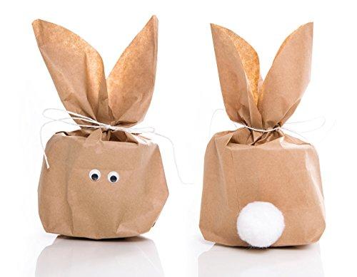 5 Stück SET kleine Ostern Geschenktüten OSTERHASE basteln natur braun 16,5 x 26 x 6,6 cm - witzige Ostertüte Verpackung Kinder Erwachsene als Osternest give-away Geschenke verpacken Hasenohren (Bio-oster-süßigkeiten)