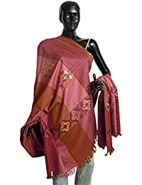 DollsofIndia Pink with Brown Kullu Shawl - 39 x 88 inches (NP95)