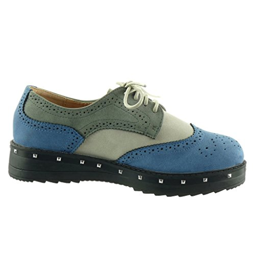 Angkorly - damen Schuhe Derby-Schuh - Plateauschuhe - Nieten - besetzt - Perforiert Blockabsatz high heel 3.5 CM Blau