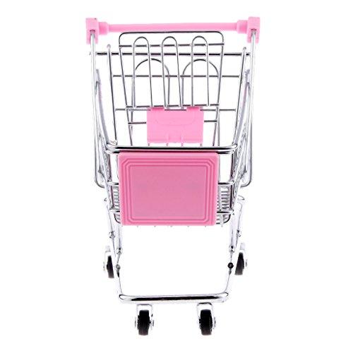 Blesiya Mini Supermarkt Schubkarre Einkaufswagen Warenkorb für Kinder Rollenspiel Spielzeug - 14 x 14,5 x 9,5 cm - Rosa -
