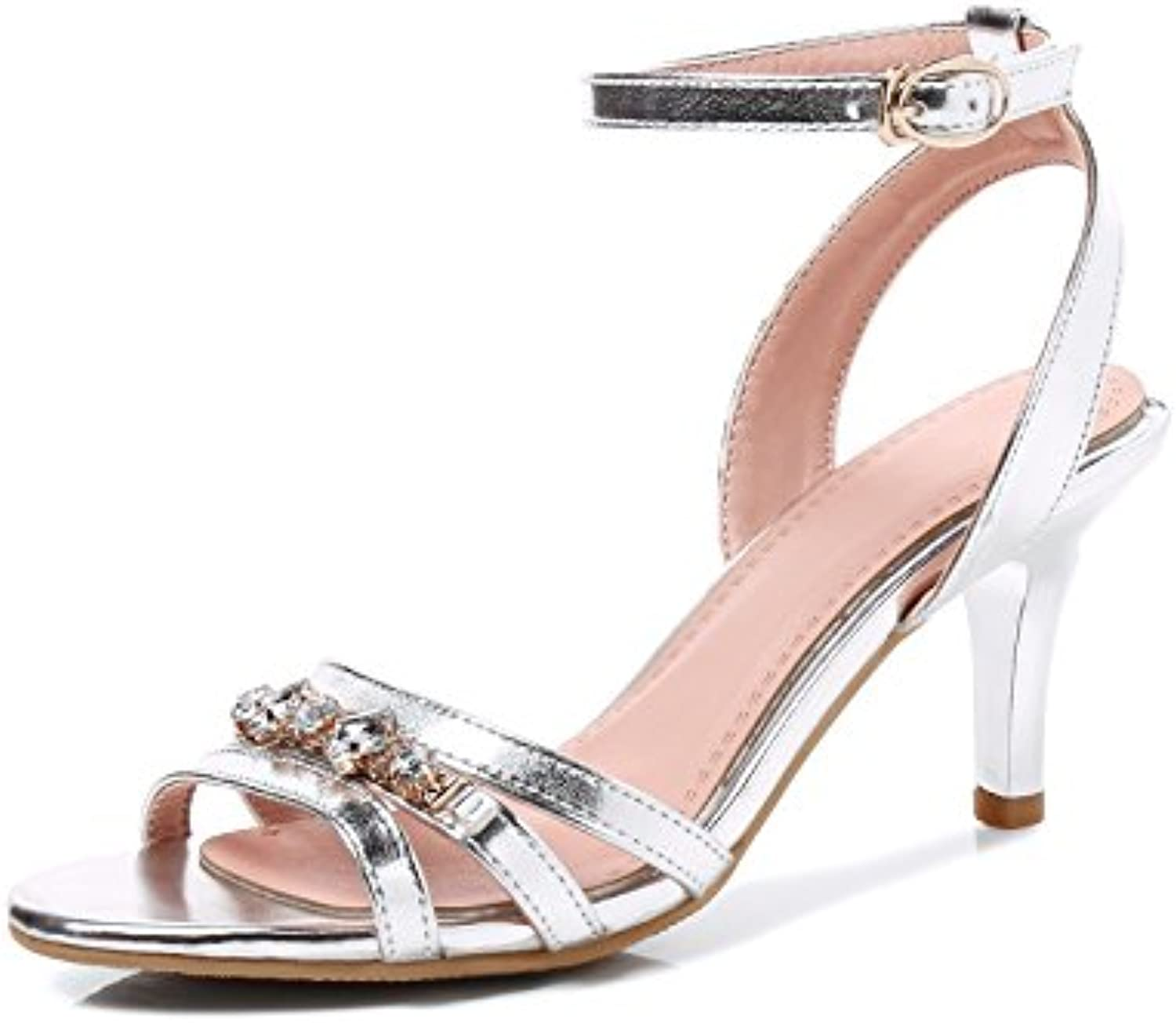 17b4cef62a7 JIEEME Sandals Ladies Sexy Stiletto Mid Parent Women Heels Buckle Strap  Crystals Women Sandals Silver Gold Summer Women Shoes B07CPLNJNR Parent  a33f387