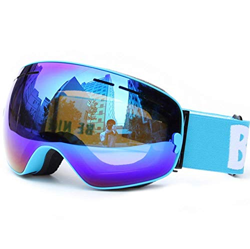 WFFH Skibrille-Spektakel Ski/Snowboard Brille Für Männer, Frauen Und Jugendliche-100% UV-Schutz,Blue