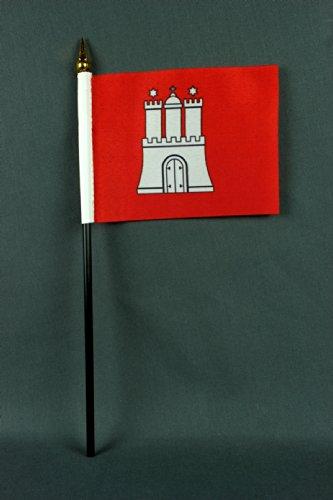 Kleine Tischflagge Hamburg 15x10 cm mit 30 cm Mast aus PVC-Rohr, ohne Ständerfuß