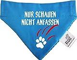 KLEINER FRATZ Hunde Durchzugstuch (Fb: Aqua-Kobalt) (Gr.S - 16 x 11 cm) Nur Schauen Nicht Anfassen