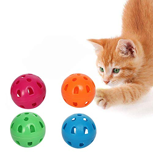 Jainsons Pet Products Colorful Ball Toys with Small Bell for Cat and Kittens Pack of 4