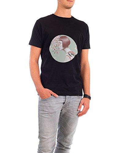 """Design T-Shirt Männer Continental Cotton """"Utopia"""" - stylisches Shirt Floral Menschen von Nettsch Schwarz"""