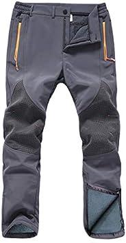 Gash Hao Mens Snow Ski Waterproof Softshell Pants Outdoor Hiking Fleece Lined Zipper Bottom Leg