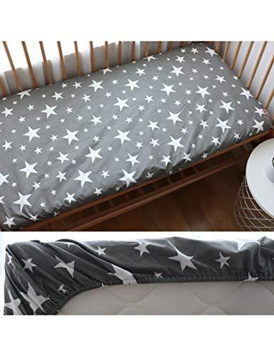 HAZUQU Bettlaken Baby Spannbetttuch Für Neugeborene Baumwolle Weiche Krippe Bettlaken Für Kinder Matratzenbezug Protector 130X70 cm, Grey Star,