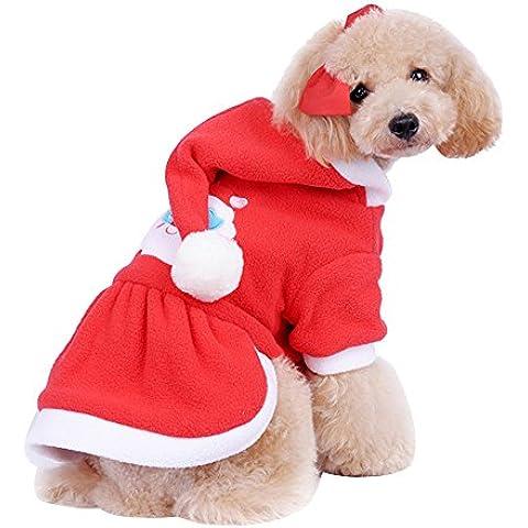 Forepin® Pet Vestito Dal Cucciolo Del Maglietta Costume Natale Inverno Maglione Cappotto Tuta Con Cappuccio Piccolo Animale Domestico Cagnolino (Gonna S)