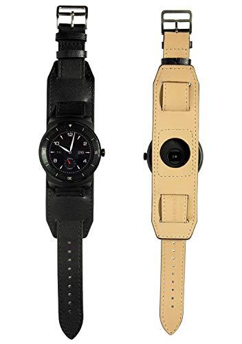 vera pelle 22mm cinturino Cuff braccialetto + Strumento per Pebble Time / Pebble Time Steel / G Watch R Urbane Nero