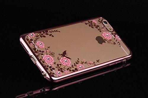 Nnopbeclik iPhone 6 Plus / 6S Plus TPU Silikon Handy Hülle Schutzhülle, Bling Glitzer Sparkles Strass Diamond Floral Crystal Pinke Blume Rose Gold Rand Electroplate Plating Frame Scratch-Resistant Bum Pinke Blume Rose Gold