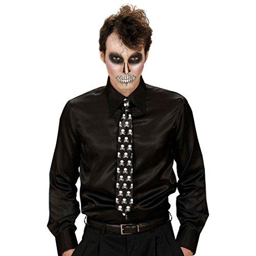 Amakando Gothic Krawatte Totenkopf Schlips Satin Skull Binder Totenschädel Herrenkrawatte Rock n Roll Party Satinkrawatte Manor Punk Accessoire