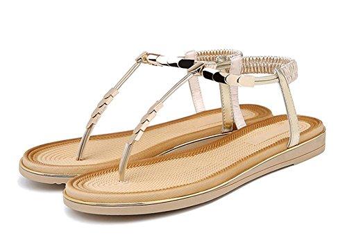 Frau Sommer Sandalen und Pantoffeln weibliche Metall Klippzehe flache Hausschuhe Badesandalen Frauen Gold