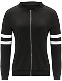 Khhalisi Women's Full Sleeves Striped Zipper Black Fleece Bomber Jacket