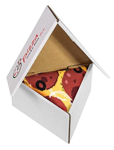 Pizza Socks Box 1 par Pepperoni Unos calcetines únicos, extraordinariamente originales, fabricados en la UE, ideales como regalo! Talla: 36 37 38 39 40 Sorprende a tus amigos Algodón