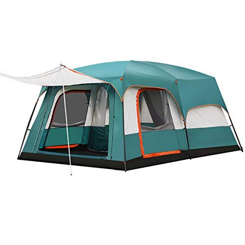 Freetrekker Großes Zelt Familienzelt 8-10 Personen Festivalzelt Luxus Steilwandzelt Hauszelt Kuppelzelt Campingzelt Gruppenzelt Wasserdicht WS 6.000 mm (dunkelgrün)