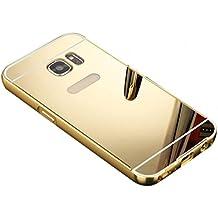Internet Aluminio fino espejo PC caso parachoques metálico cubierta trasera para Samsung Galaxy S7 Edge Oro