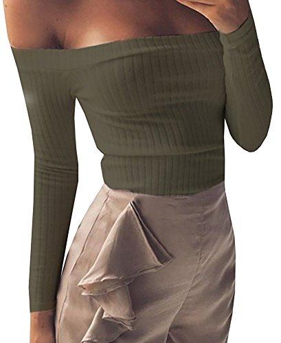 Hey~Yo Herbst Winter Bustier Oberteile Damen Einfarbig Wort Schulter Crop T-Shirt Tops Reizvolle Schulterfrei Bolero Pulli Langarm Pullover Blouse Tuniken Hemden Sweatshirt- Gr. 36 (M), Armee Grün
