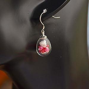 Ein Paar Babysbreath Echte Blume Träne Glas 925 Sterling Silber Ohrhänger