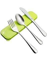 AckMond 3 piezas de viaje de acero inoxidable portátil, cubiertos de camping Set (vert)