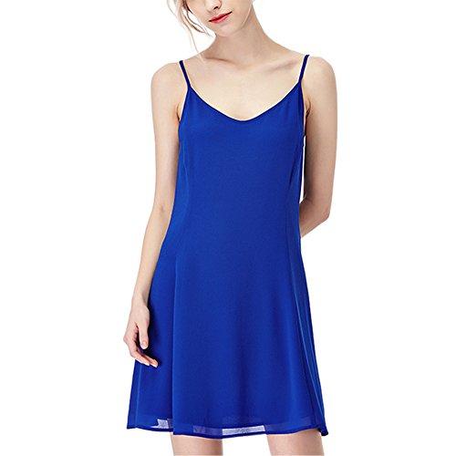 Petalum Damen Ärmellos Kleider mini Kleid Vest Top Tief V Rückfrei Casual Strandkleider Blau