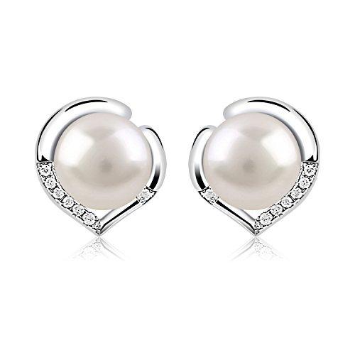 B.catcher orecchini in argento 925 di buona lega con perla d'acqua dolce 10mm