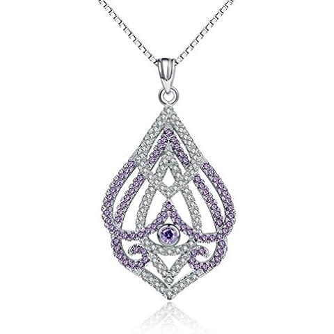 In argento Sterling 925, colore: trasparente brillante-Collana con ciondolo placcata platino, con catena