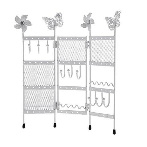 MagiDeal 3 Panel Klappbar Bildschirm Schmuckhängen Ohrringhalter Schmuck Organizer Ständer Anzeige - Weiß (Drei-panel-bildschirm)