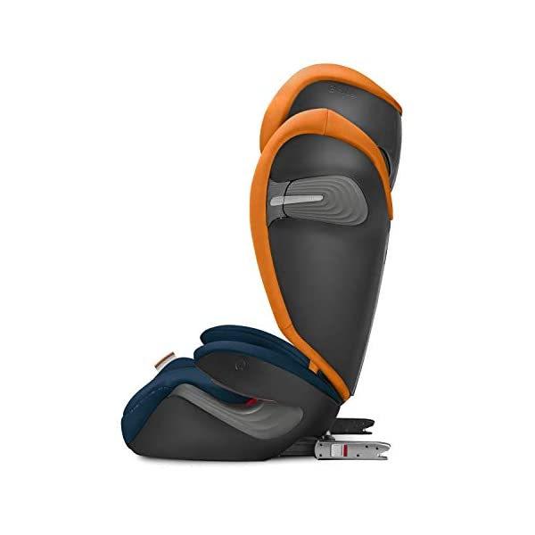 CYBEX Gold Solution S-Fix Child's Car Seat, For Cars with and without ISOFIX, Group 2/3 (15-36 kg), From approx. 3 to approx. 12 years, Indigo Blue Cybex Sturdy and high-quality child car seat with long service life - For children aged approx. 3 to approx. 12 years (15-36 kg), Suitable for cars with and without ISOFIX Maximum safety - Built-in side impact protection (L.S.P. System), 3-way adjustable headrest, Energy-absorbing shell 12-way adjustable, comfortable headrest, Adjustable backrest, Extra wide and deep seat cushion, Ventilation system 9