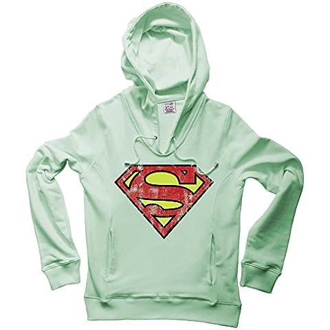 DC Comics - Superman Logo Sudadera con cuello pico y capucha - Suéter con V-Neck y capucha - Azul claro - Diseño original con licencia – LOGOSHIRT