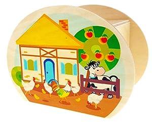 Hess Holzspielzeug 15225 - Hucha de Madera con Llave, diseño de Granja, Regalo de cumpleaños para niños, Aprox. 11,5 x 8,5 x 6,5 cm