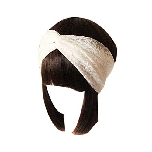 Damen Stirnband mit Spitze im Retro-Stil, gedreht, gedreht, weich, 26 cm, Weiß