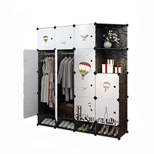 PTDJY Einfache Garderobe Kombination Kunststoff Montage Kleiderschrank sorgfältig entworfen Layout Rack for Kleidung modernen minimalistischen Lagerschrank (Color : White) (White Breeze Kleid)