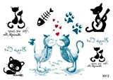 Ggsell Ggsell New Release Look Like Real Temporary Tattoos Stickers Very Cute Lovely Cats, Cat Lovers Playing Music, Fish Bone, Footprint