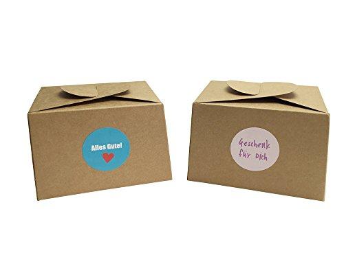 12 Boxen aus Naturkarton + 24 Geschenkaufkleber für Kuchen, Kekse, Cupcakes aber auch Geschenke aller Art