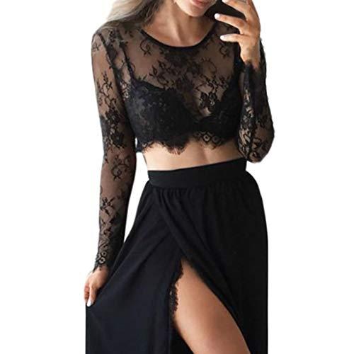 Andouy Mesh Crop Top Damen Spitze Blume Durchsichtig Transparent Langarm Shirt Größe 36-42 Sexy Party Bluse(Schwarz,38)